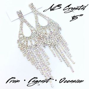 """Jewelry - AB Crystal Prom Pageant Occasion 5"""" Earrings"""